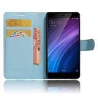 Чехол портмоне подставка на силиконовой основе с отсеком для карт на магнитной защелке для Xiaomi RedMi 4/4Pro Голубой