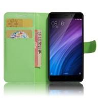 Чехол портмоне подставка на силиконовой основе с отсеком для карт на магнитной защелке для Xiaomi RedMi 4/4Pro Зеленый