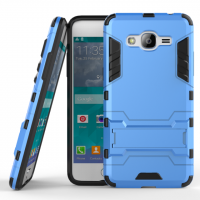 Двухкомпонентный силиконовый матовый непрозрачный чехол с поликарбонатными вставками с встроенной ножкой-подставкой для Samsung Galaxy J2 Prime  Голубой