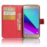 Чехол горизонтальная книжка подставка на силиконовой основе с отсеком для карт на магнитной защелке для Samsung Galaxy J2 Prime  Красный
