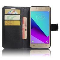 Чехол горизонтальная книжка подставка на силиконовой основе с отсеком для карт на магнитной защелке для Samsung Galaxy J2 Prime  Черный