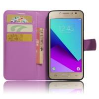 Чехол горизонтальная книжка подставка на силиконовой основе с отсеком для карт на магнитной защелке для Samsung Galaxy J2 Prime  Фиолетовый