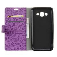 Чехол горизонтальная книжка подставка текстура Мультик на силиконовой основе с отсеком для карт на магнитной защелке для Samsung Galaxy J2 Prime  Фиолетовый