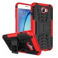 Противоударный двухкомпонентный силиконовый матовый непрозрачный чехол с нескользящими гранями и поликарбонатными вставками экстрим защиты с встроенной ножкой-подставкой для Samsung Galaxy J5 Prime Красный