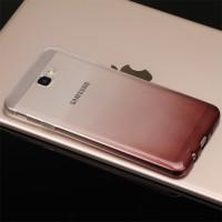Силиконовый глянцевый полупрозрачный градиентный чехол для Samsung Galaxy J5 Prime  Бордовый
