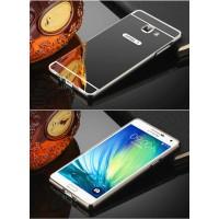 Двухкомпонентный чехол c металлическим бампером с поликарбонатной накладкой и зеркальным покрытием для Samsung Galaxy J5 Prime Черный