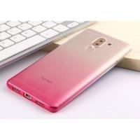 Силиконовый глянцевый полупрозрачный градиентный чехол для Huawei Honor 6X Розовый