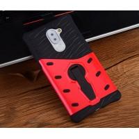 Силиконовый матовый непрозрачный чехол с поликарбонатными вставками экстрим защиты с встроенной ножкой-подставкой для Huawei Honor 6X  Красный