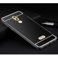 Двухкомпонентный чехол c металлическим бампером с поликарбонатной накладкой и отверстием для логотипа для Huawei Honor 6X  Черный