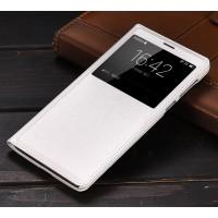 Чехол горизонтальная книжка на пластиковой основе с окном вызова для Huawei Honor 6X  Белый