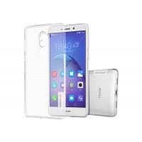 Силиконовый глянцевый полупрозрачный чехол с защитными заглушками для Huawei Honor 6X  Белый