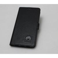 Кожаный чехол горизонтальная книжка подставка (премиум нат. кожа) с магнитной застежкой для Huawei Honor 6X