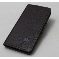 Кожаный чехол горизонтальная книжка подставка (премиум нат. кожа крокодила) с магнитной застежкой для Huawei Honor 6X  Коричневый