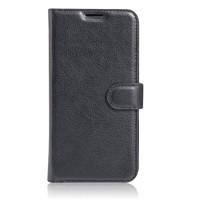 Чехол портмоне подставка на силиконовой основе с отсеком для карт на магнитной защелке для Huawei Honor 6X  Черный