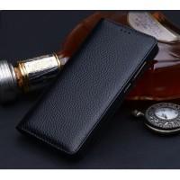 Кожаный чехол горизонтальная книжка (премиум нат. кожа) для Huawei Honor 6X  Черный