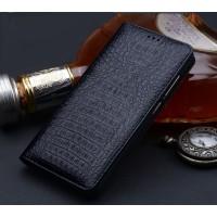 Кожаный чехол горизонтальная книжка (премиум нат. кожа крокодила) для Huawei Honor 6X  Черный