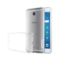 Силиконовый глянцевый полупрозрачный чехол с нескользящими гранями и защитными заглушками для Meizu M5 Note  Белый