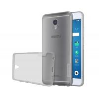 Силиконовый глянцевый полупрозрачный чехол с нескользящими гранями и защитными заглушками для Meizu M5 Note  Серый