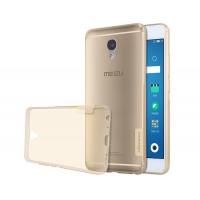 Силиконовый глянцевый полупрозрачный чехол с нескользящими гранями и защитными заглушками для Meizu M5 Note  Бежевый