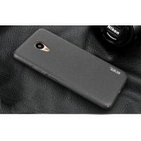 Пластиковый непрозрачный матовый чехол с повышенной шероховатостью и допзащитой торцев для Meizu M5 Note  Черный