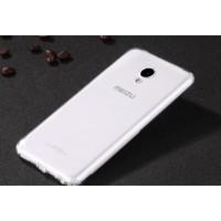 Силиконовый глянцевый полупрозрачный чехол с улучшенной защитой элементов корпуса (заглушки) для Meizu M5 Белый