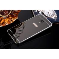 Двухкомпонентный чехол c металлическим бампером с поликарбонатной накладкой и зеркальным покрытием для Meizu M5 Черный