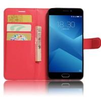 Чехол горизонтальная книжка подставка на силиконовой основе с отсеком для карт на магнитной защелке для Meizu M5  Красный