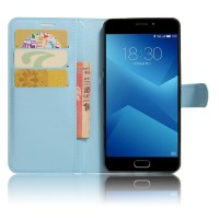 Чехол горизонтальная книжка подставка на силиконовой основе с отсеком для карт на магнитной защелке для Meizu M5  Голубой