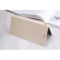 Чехол горизонтальная книжка на пластиковой нескользящей премиум основе для Meizu M5  Бежевый