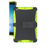 Противоударный двухкомпонентный силиконовый матовый непрозрачный чехол с нескользящими гранями и поликарбонатными вставками для экстрим защиты с встроенной ножкой-подставкой для Xiaomi Mi Pad 2  Зеленый