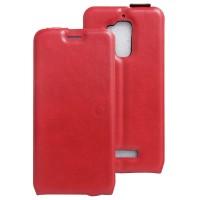 Чехол вертикальная книжка на силиконовой основе с отсеком для карт на магнитной защелке для Asus ZenFone 3 Max Красный
