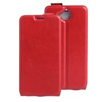 Чехол вертикальная книжка на силиконовой основе с отсеком для карт на магнитной защелке для Huawei Honor 4C Pro Красный