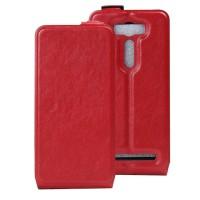 Чехол вертикальная книжка на силиконовой основе с отсеком для карт на магнитной защелке для ASUS Zenfone 2 Laser 5 ZE500KL Красный
