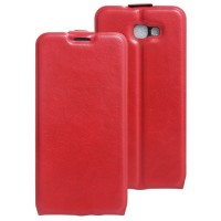 Чехол вертикальная книжка на силиконовой основе с отсеком для карт на магнитной защелке для Samsung Galaxy J5 Prime Красный