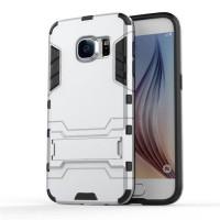 Противоударный двухкомпонентный силиконовый матовый непрозрачный чехол с поликарбонатными вставками экстрим защиты с встроенной ножкой-подставкой для Samsung Galaxy S7 Белый