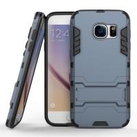 Противоударный двухкомпонентный силиконовый матовый непрозрачный чехол с поликарбонатными вставками экстрим защиты с встроенной ножкой-подставкой для Samsung Galaxy S7 Синий