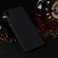 Пластиковый непрозрачный матовый чехол для Sony Xperia E5  Черный