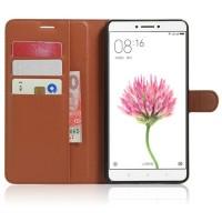 Чехол портмоне подставка на силиконовой основе на магнитной защелке для Xiaomi Mi Max Коричневый