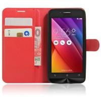 Чехол портмоне подставка на силиконовой основе на магнитной защелке для ASUS Zenfone Go Красный