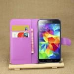 Чехол портмоне подставка на пластиковой основе на магнитной защелке для Samsung Galaxy S5 (Duos)