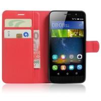 Чехол портмоне подставка на силиконовой основе на магнитной защелке для Huawei Honor 4C Pro  Красный