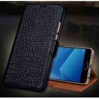Кожаный чехол портмоне подставка (премиум нат. кожа крокодила) с магнитной застежкой для Meizu Pro 6 Plus