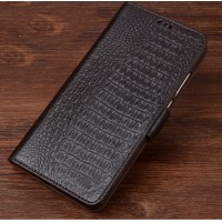 Кожаный чехол портмоне подставка (премиум нат. кожа крокодила) с крепежной застежкой для HTC 10 evo Коричневый