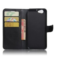 Чехол портмоне подставка на силиконовой основе с отсеком для карт на магнитной защелке для HTC One A9S  Черный