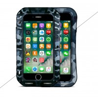 Эксклюзивный многомодульный ультрапротекторный пылевлагозащищенный ударостойкий нескользящий чехол алюминиево-цинковый сплав/силиконовый полимер с закаленным защитным стеклом для Iphone 7