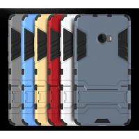 Противоударный двухкомпонентный силиконовый матовый непрозрачный чехол с поликарбонатными вставками экстрим защиты с встроенной ножкой-подставкой для Xiaomi Mi Note 2