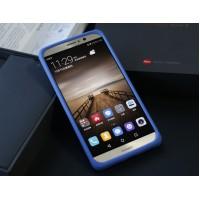 Силиконовый матовый непрозрачный чехол с нескользящим софт-тач покрытием для Huawei Mate 9 Синий