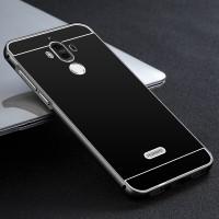 Двухкомпонентный чехол c металлическим бампером с поликарбонатной накладкой и текстурой Металл для Huawei Mate 9 Черный