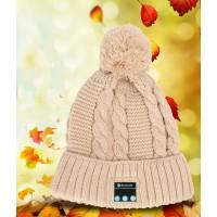 Шерстяная шапка дизайн Помпон с наушниками, микрофоном и функцией беспроводной bluetooth 3.0 стерео гарнитуры