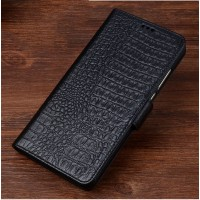 Кожаный чехол портмоне подставка (премиум нат. кожа крокодила) с крепежной застежкой для Asus ZenFone 3 Laser